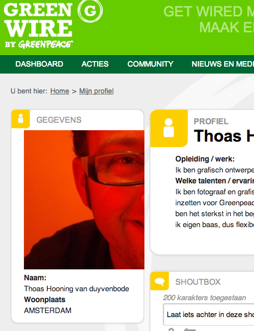Thoas' Greenwire.nl Profile