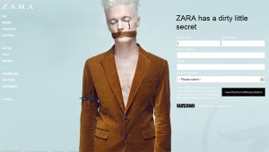A website mirroring Zara's shows models in masks. Zara is a company targeted by the Detox campaign.